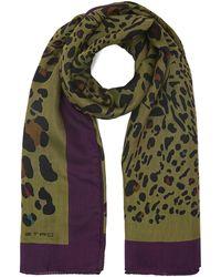 Etro Animal Print Silk-blend Scarf - Green