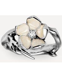 Shaun Leane Silver Cherry Blossom Diamond Flower Ring - Metallic