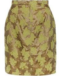 ALEXACHUNG Floral-embroidered Metallic Pencil Skirt - Green