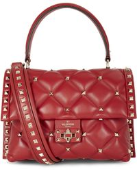 Valentino Medium Candystud Top Handle Quilted Leather Bag - Red