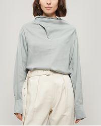Low Classic Cowl-neck Long Sleeve Blouse - Multicolor