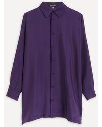 Eskandar Longline Collared Shirt - Purple