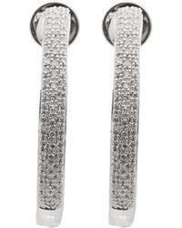 Monica Vinader Silver Fiji Large Diamond Hoop Earrings - Metallic