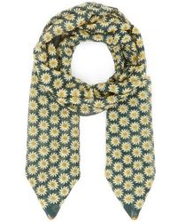 Drake's Floral Cotton And Silk-blend Scarf - Green