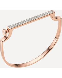 Monica Vinader Rose Gold Plated Vermeil Silver Signature Small Thin Diamond Bangle - Pink