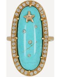 Andrea Fohrman Gold Turquoise Orbit Diamond Ring - Multicolour