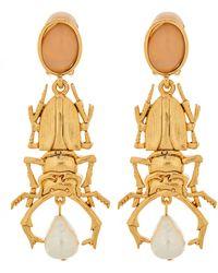 Oscar de la Renta Quartz Stag Beetle Earrings - Metallic