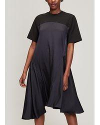 CLU Contrast Asymmetric Panel Dress - Black