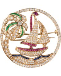 Kojis - Gold Multi-stone Diamond Sailing Brooch - Lyst