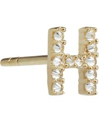 Annoushka - Yellow Gold And Diamond Initial H Single Stud Earring - Lyst