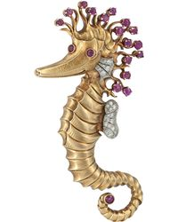 Kojis - Gold Ruby And Diamond Seahorse Brooch - Lyst