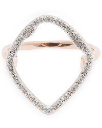 Monica Vinader Rose Gold Plated Vermeil Silver Riva Hoop Diamond Cocktail Ring - Metallic