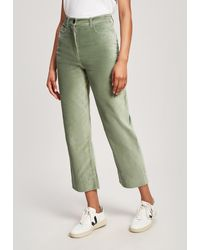 WOOD WOOD Althea High-waisted Velvet Pants - Green