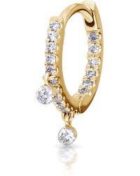 "Maria Tash 5/16"" Diamond Double Charm Front-facing Eternity Hoop Earring - Metallic"