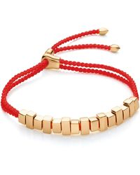 Monica Vinader Gold Plated Vermeil Silver Linear Ingot Cord Friendship Bracelet - Metallic