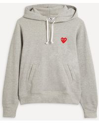 COMME DES GARÇONS PLAY Embroidered Logo Cotton Hoodie - Grey