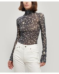 Acne Studios Denise Sheer Star Print High-neck Top - Multicolor