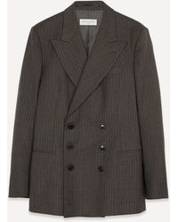 Dries Van Noten Double-breasted Pinstripe Wool Blazer - Multicolour