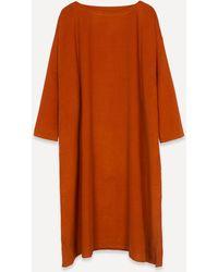 Eskandar Scoop-neck Small Cord Dress - Orange