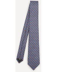 Lanvin Mini Dog Woven Silk Tie - Blue