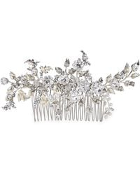 Halo Kendra Crystal And Pearl Comb Clip - Metallic