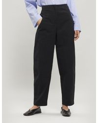 Oska Cajsa Cotton Check Trousers - Black