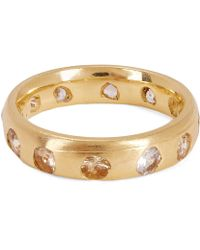 Polly Wales - Gold Celeste White Sapphire Crystal Ring - Lyst