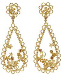 Alex Monroe Gold-plated Flower Power Lace-edged Teardrop Earrings - Metallic