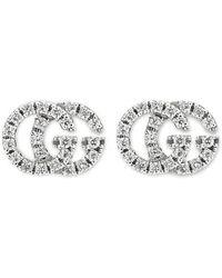 Gucci White Gold GG Running Diamond Stud Earrings - Metallic