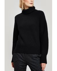 JOSEPH Ribbed Wool Roll-neck Jumper - Black