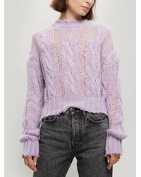Acne Studios Kella Loose Weave Cable-knit Jumper - Purple