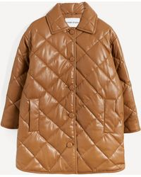 Stand Studio Jacey Quilted Faux-leather Coat - Brown