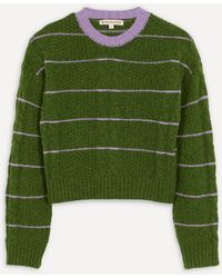 ALEXACHUNG Cropped Cable-knit Jumper - Green