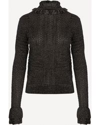 Chloé Ruffled Metallic Ribbed-knit Jumper - Multicolour