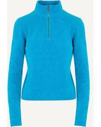 Paloma Wool Baco Half-zip V-neck Jumper - Blue
