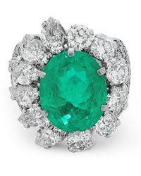 Kojis White Gold Colombian Emerald And Diamond Ring - Metallic
