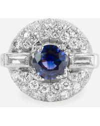 Kojis White Gold Art Deco Sapphire And Diamond Ring - Metallic