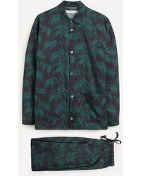 Desmond & Dempsey Byron Leaf Cotton Pyjama Set - Blue