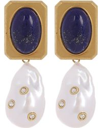 Céline - Baroque Pearl And Lapis Lazuli Crystal Drop Earrings - Lyst