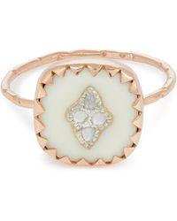 Pascale Monvoisin Rose Gold Pierrot Diamond And Bakelite Ring - White
