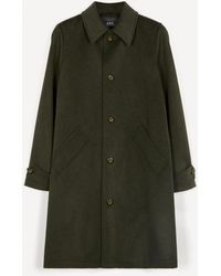 A.P.C. Suzanne Pleated Wool-blend Mac Coat - Green