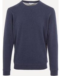 Sunspel Crew-neck Cotton Sweatshirt - Blue