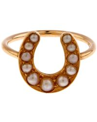 Annina Vogel - Gold Pearl Horseshoe Ring - Lyst