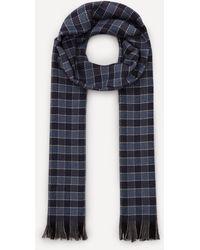 Nick Bronson Gingham Check Wool Scarf - Blue