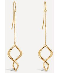 Dinny Hall Gold Plated Vermeil Silver Twist Small Chain Drop Earrings - Metallic