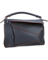 Loewe Puzzle Edge Large Leather Shoulder Bag - Black