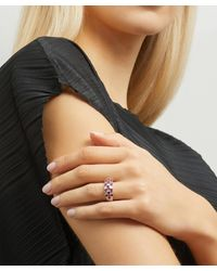 Kojis White Gold Ruby And Diamond Checkerboard Ring - Metallic