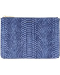 Estella Bartlett Snake Print Faux Leather Medium Pouch - Blue
