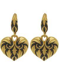 Oscar de la Renta Gold-tone Painted Heart Drop Earrings - Metallic