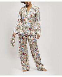 Liberty Bamboo Garden Silk Charmeuse Pajama Set - Multicolor